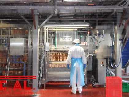 FRANKFURTERS AUTOMATIC UNLOADING OF CONTINUOUS OVEN